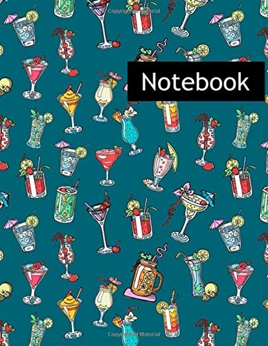 Alcohol Cocktail Drinks Martini Margarita Tequila Vodka : College Ruled Notebook & 2020 Planner: Lined notebook Gift, 120 Pages, 8.5x11, Soft Cover, Matte Finish