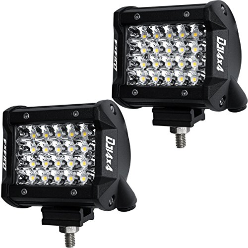DJI 4X4 LED Pods, 2Pcs 4 Inch 144W LED Light Bar Quad Row OSRAM Spot Beam LED Cubes Work Light Off Road Driving Fog Lamps for Trucks ATV UTV SUV Boat Marine, 2 Years Warranty