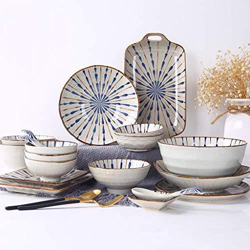 DHTOMC Juego de vajillas de cerámica con 35 Piezas, tazón/Placa/Cuchara | Conjuntos de Cena de Estilo japonés, Textura Mate Mate combinación de Porcelana Cena Xping