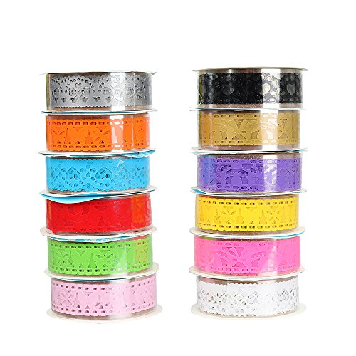 Molshine 12rolls Lace Ribbon Washi Masking Tape Set,Crafts Tape for DIY,Bullet Diary Decorative,Gift Wrapping,Scrapbook,Office,Party Supplies,Collection