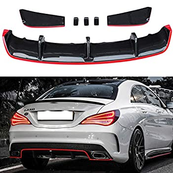 Carbon Fiber Rear Diffuser Lip Spoiler With Red Line For Mercedes Benz CLA class W117 sport edition 2013-2016 & CLA45 AMG 2013-2016