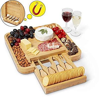 Envybl Bamboo Cheese Board & Cutlery Knife Set Serving Tray - An Elegant Antibacterial Charcuterie Platter - Perfect Appetizer Appliance Essential for Meat & Wine Hosting or Wedding & Birthday Gifts from