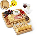 Envybl Bamboo Cheese Board & Cutlery Knife Set Serving Tray - An Elegant Antibacterial Charcuterie Platter -...