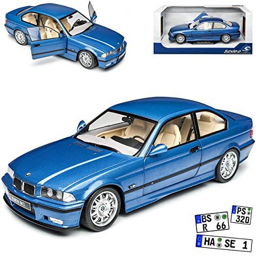 B-M-W 3er E36 M3 Coupe Estoril Blau Metallic 1990-2000 1/18 Solido Modell Auto mit individiuellem Wunschkennzeichen