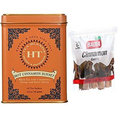 Harney & Sons Hot Cinnamon Sunset Tea Spiced with Orange and Cloves + Complementary Badia Cinnamon Spice Sticks