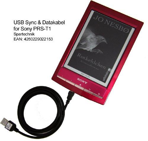 Spartechnik USB Datenkabel für Sony PRS-T1 - Sync- & Ladekabel für eBook Reader PRS T1 PRS-T2 PRS T2 - USB Kabel mit Ladefunktion für elektronisches Buch schwarz