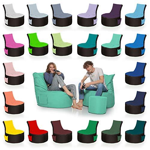HomeIdeal - 2Farbiger Gamer Sitzsack Lounge für Erwachsene & Kinder - Gaming oder Entspannen - Indoor & Outdoor da er Wasserfest ist - mit EPS Perlen, Farbe:Schwarz-Pacificblau, Größe:Erwachsene