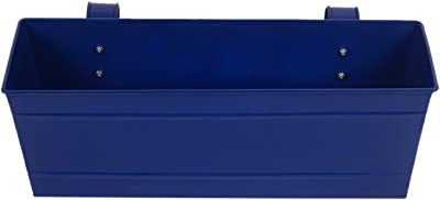 TrustBasket Set of 2 - Rectangular Railing Planter - Blue And Magenta (18 Inch)