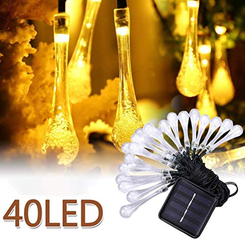 XHH Waterproof Solar Garden Lights 8M 40 LED Water Drop Light String LED Hanging Garland Lights for Home Garden Decor(Holiday Party)