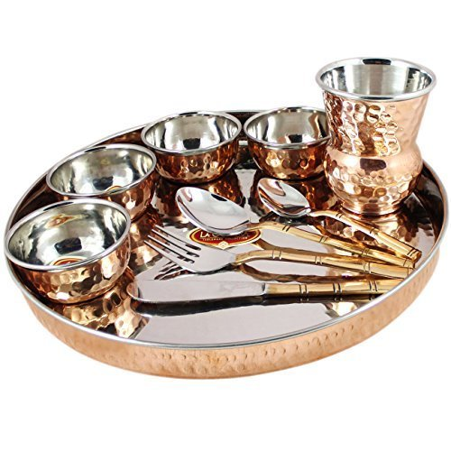Indian Dinnerware Set Copper Stainless...