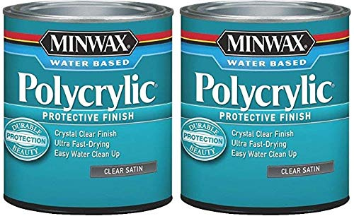 Minwax 63333444 Polycrylic Protective Finish Water Based,1 Quart, Satin 2 Pack