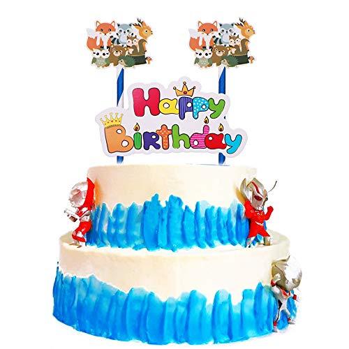 LVEUD Happy Birthday Cartoon Animals Cake Topper - Child Party Decoration Supplies