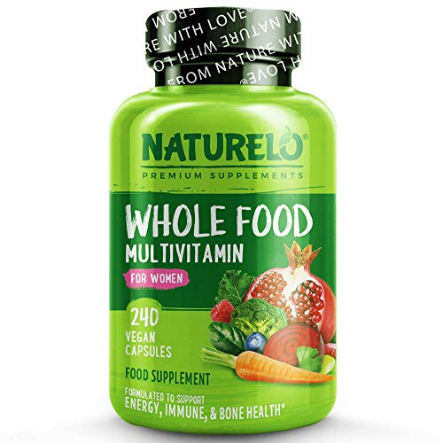 NATURELO Whole Food Multivitamin for Women - with Natural Vitamins, Minerals, Botanical Blends - Best Complete Formula for Wellness, Energy, Brain, Eye Health - 240 Vegan Capsules | 2 Month Supply