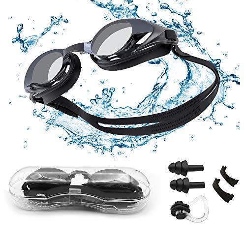 seenlast Gafas de Natación para Hombres Mujeres, Antiniebla Protección UV Sin Fugas Gafas Natación con Libre Clip de Nariz Enchufe de oído, Visión Amplia Clara para Piscina Deportes Acuáticos