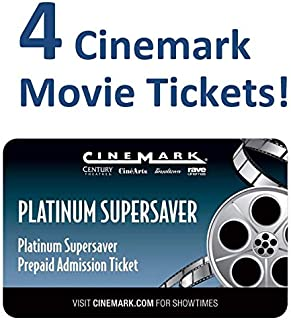 4 Cinemark Theatre Platinum Supersaver Movie Tickets (Save $10+)