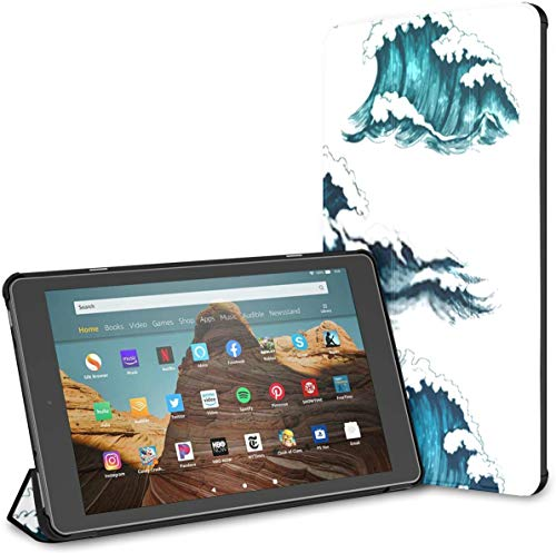 Case for All-New Amazon Fire Hd 10 Tablet (7th and 9th Generation,2017/2019 Release),Slim Folding Stand Cover with Auto Wake/Sleep for 10.1 Inch Tablet, Sea Waves Vintage Cartoon Ocean Tidal
