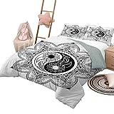 Ensemble de courtepointe avec draps Ying Yang Couvre-lit en mélange de coton doux toutes saisons Boho Ying Yang Symbole dans une fleur Zen Hippie Design Motif floral Queen Size Noir et blanc