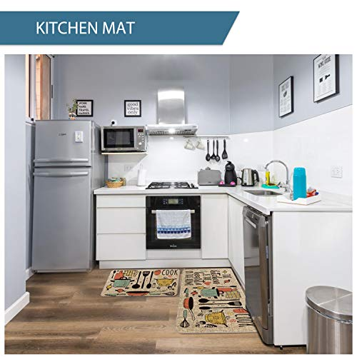 Artoid Mode The Kitchen is The Heart of The Home Kitchen Mats Set of 2, Seasonal Cooking Sets Holiday Party Low-Profile Floor Mat for Home Kitchen - 17x29 and 17x47 Inch