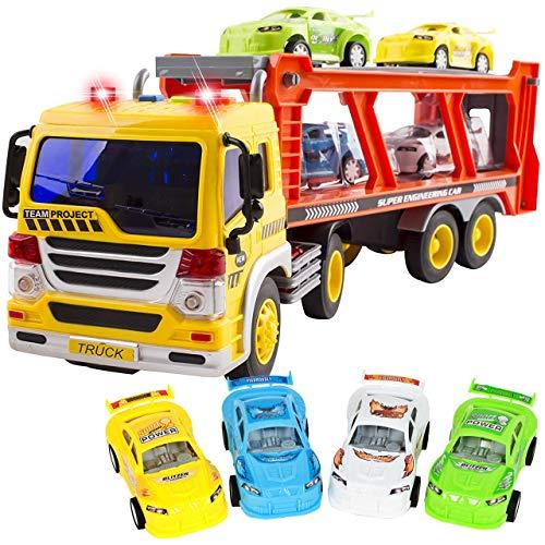 MalPlay Abschleppwagen Spielzeug | mit Licht & Sound | Transport-LKW Autotransporter mit 4 Stück Buntes Mini Autos | Länge 37 cm | ab 3 Jahren | Geschenk für Kinder
