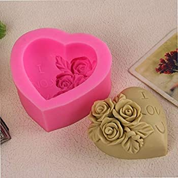 Candle Cake Soap Heart Mold Fondant DIY Mould Rose Craft 3D Silicone Sugar