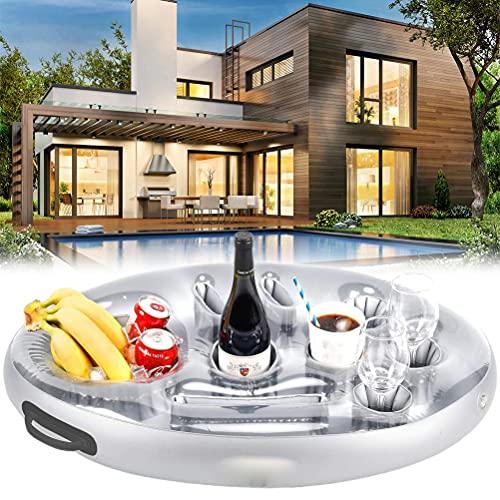 Soporte flotante para bebidas para piscinas y bañera de hidromasaje, posavasos inflables, portavasos con 8 agujeros para suministros de fiesta en la piscina