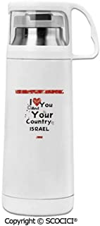 AmaPark Thermos Cup I Love You And Your Country Israel Double Wall Stainless Steel Vacuum Insulated Water Bottle Keeps Your Drink Hot & Cold 12 Oz (350 ml)
