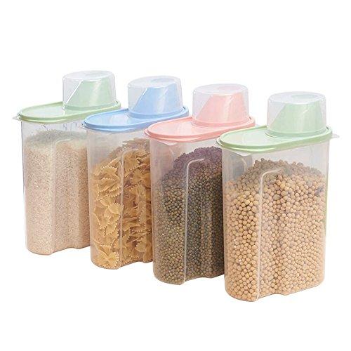 Juego de 4 recipientes de plástico para almacenamiento de alimentos en la cocina, cereales, tamaño grande de 2,5 litros, transparentes
