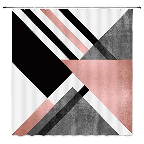 AMFD Geometric Shower Curtain Abstract Triangle Striped Pattern Fashion Pink Gray White Black Bathroom Curtains Decor Polyester Fabric Waterproof 70 X 70 Inches Include Hooks