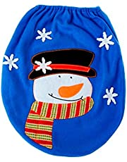 OULII Blue Toilet Seat Cover for Bathroom Christmas Toilet Decoration Christmas Home Decorations Supplies