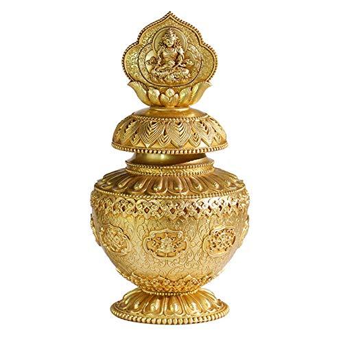 Jarrón de Bodhisattva Ksitigarbha, suministros budistas de cobre puro, artesanías tibetanas, adornos de feng shui de buena suerte, tallado de artesanías