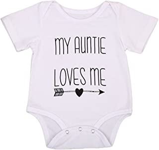 Cotton Newborn Infant Baby Boys Girls Short Sleeve Aunt Bodysuit Romper Outfit Clothes
