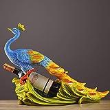 DAMAI Pfau Weinregal Dekoration Kreative Dekoration-Weinklimaschrank Dekoration Kerzenhalter Resin Tischdekoration 53 * 20 * 38.5cm Schmücken (Farbe : Blue)