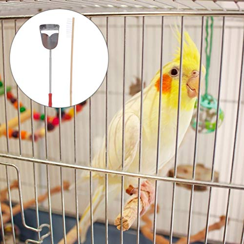 Balacoo 2Pcs Bird Poop Remover Scrapers Dustpan Sets Bird Cage Cleaning Tools Small Animal Habitat Cleaner for Food Bowl Dishes Bottles Perch Stand