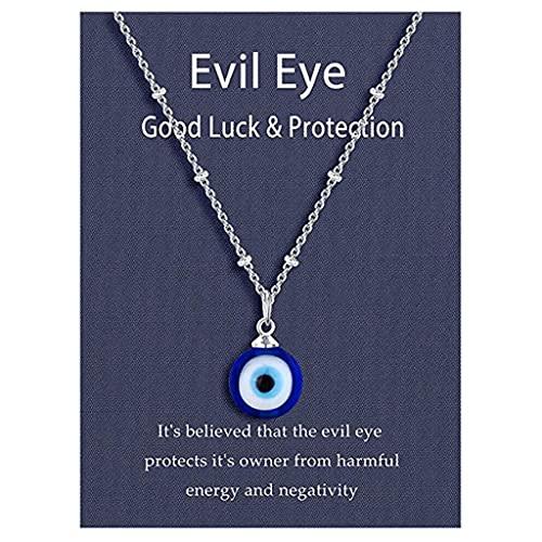 Lobounny Collar de moda ojo de demonio europeo y americano cadena de oro pavo ojo azul redondo forma de gota collar para las mujeres