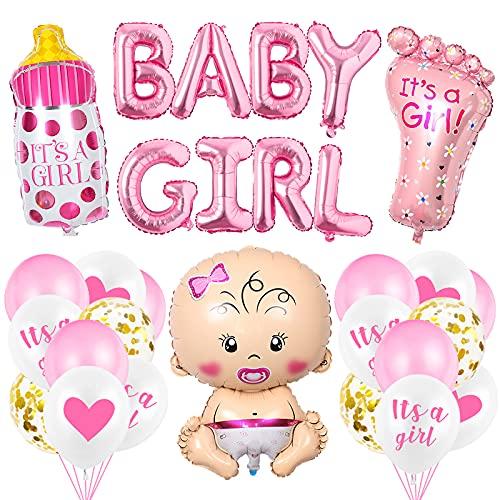 O-Kinee Babyparty Deko, Baby Shower Mädchen Deko Rosa, Babydusche Dekorations - It's a Girl Girlande, Neugeborene Folienballoon, Fotorequisiten Masken, Ballons Rosa, Tischdeko Streudeko