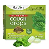 Herbion Naturals Sugar-Free Cough Drops with Natural Mint Flavor, 18 Drops, Oral Anesthetic - Relieves Cough, Throat, Bronchial Irritation, Soothes Sore Mouth, for Adults & Children 2YO+