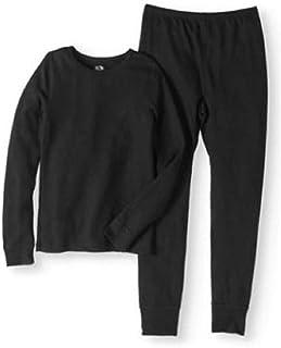 طقم ملابس داخلية حرارية ناعمة للبنات من Fruit of the Loom أسود Small 6-6x