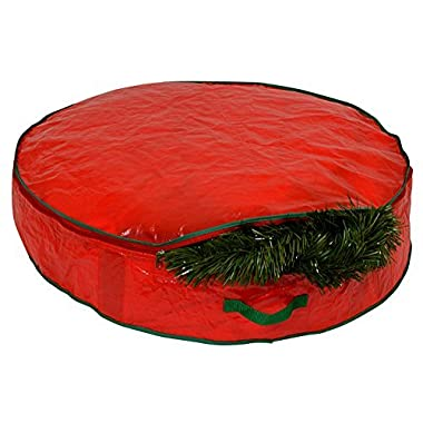 Christmas Wreath Storage Bag - 30  X 7  - Durable Tarp Material, Zippered, Reinforced Handle and Easy to Slip the wreath In and Out. Protect Your Holiday Wreath from Dust, Insects, and Moisture.