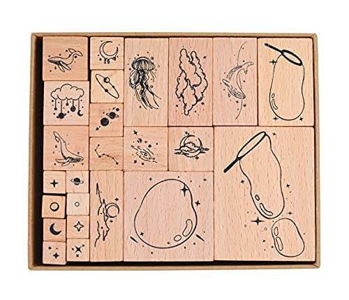 Cliocoo 24pcs Wood Rubber Stamp Set, Star and Sea Decorative Wooden Stamp Set, Whale Moon Star Stamp for Art Craft, Journal, Diary, Scrapbook, Planner, Letter, Card Making M-101 (1-Moon Star Whale)