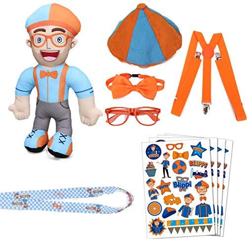 Los juguetes de peluche de Blippi sean como vestir y vienen con los tirantes de lazo de lazo de naranja Sombreros de gafas y la correa telefónica Set