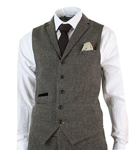 CAVANI Mens 3 Piece Wool Blend Herringbone Tweed Suit Blue Brown Vintage Tailored Fit Navy 36