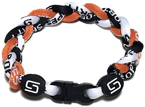 Sport Ropes 3 Rope Titanium Bracelet (Orange/Black/White, 8')