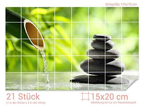 GRAZDesign Fliesenaufkleber Steine - Bambus für Kacheln Bad-Fliesen mit Fliesenbildern überkleben (Fliesenmaß: 15x20cm (BxH)//Bild: 105x70cm (BxH))