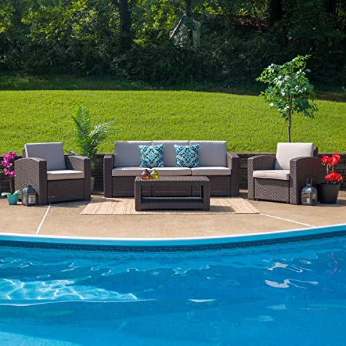 Flash Furniture 4 Piece Outdoor Faux Rattan Chair, Sofa and Table Set in Chocolate Brown