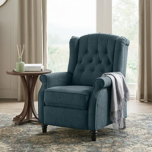 YANXUAN Pushback Recliner Chair, Tufted Armchair with Padded Seat, Backrest, Nailhead Trim, Dark Teal