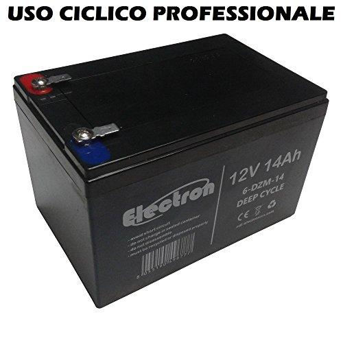 Batterie au plomb rechargeable 12V, 14Ah, utilisation cyclique, batterie pour vélos électriques, quads électriques, trottinettes électriques, connecteurs Faston 6,35mm, Deep Cycle 6-DZM-126DZM14