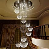 Moooni Modern Luxury Raindrop Crystal Chandelier Large Spiral Sphere Flush Mount Ceiling Light Fixture for High Ceilings Staircase Entrance Foyer W 39.4' x H 118'