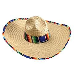 "Approximately 21"" around inside of hat Serape band and wrapped serape around brim Made of woven straw. Made of straw Comes with a chin strap Crown 6.5 inches Tall, Brim 6.5"" inches wide one size fits most adults"