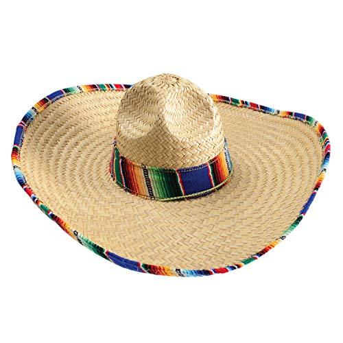"""GiftExpress Mexican Sombrero Hat Adults with Serape Trim, 21"""" Wide Authentic Sombrero for Cinco de Mayo, Straw Sombrero with Serape Band, Adult Mexican Serape Costume"""