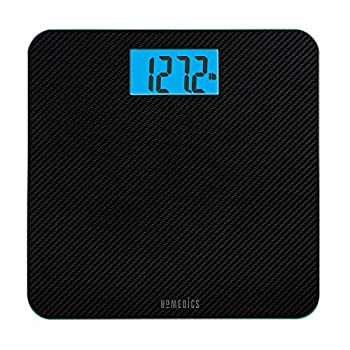 Homedics Carbon Fiber Glass Bathroom Scale Large Platform Measures 13  Square Accurate up to 400 Lbs